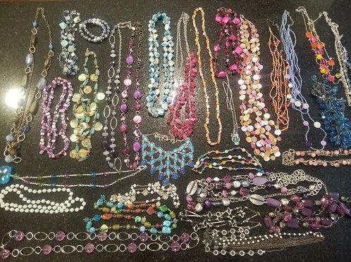 Bag of Costume Jewelry, glass, plastic, stone & metal