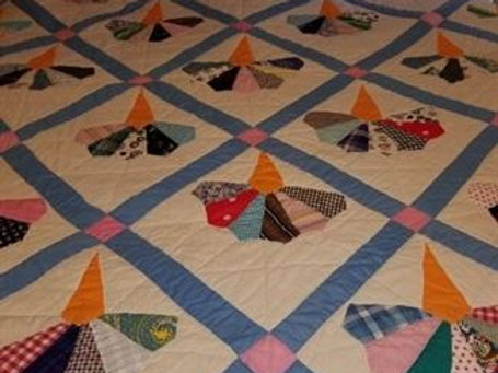 handstitched quilt VG condition, appr. 84 x 84""