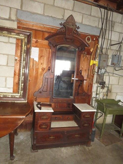 Antique dresser mirror and marble