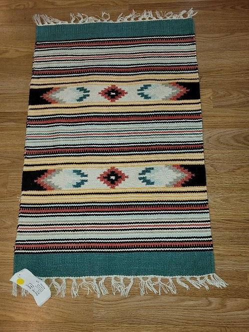 Artisan Cotton Rug   Greens & Black - 4'
