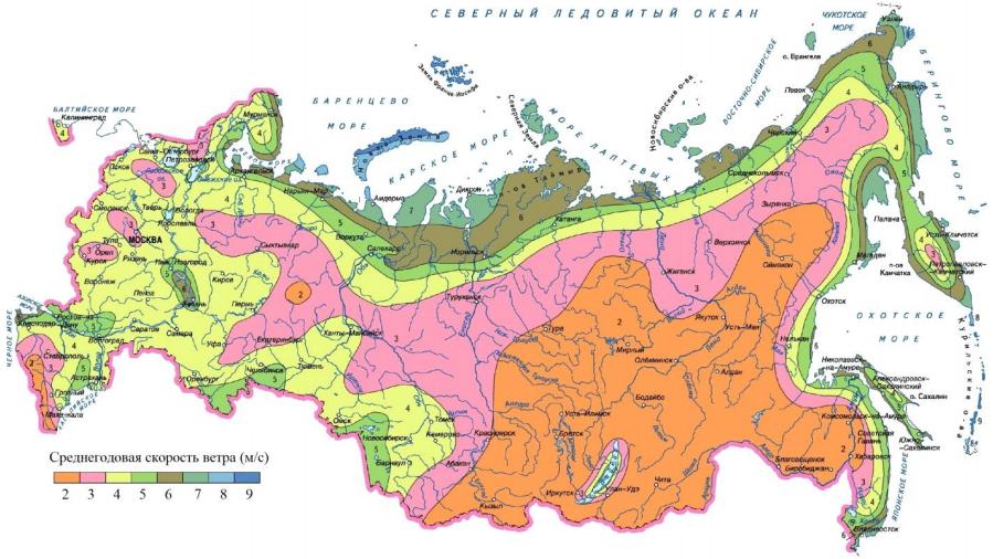 Карта ветров в России