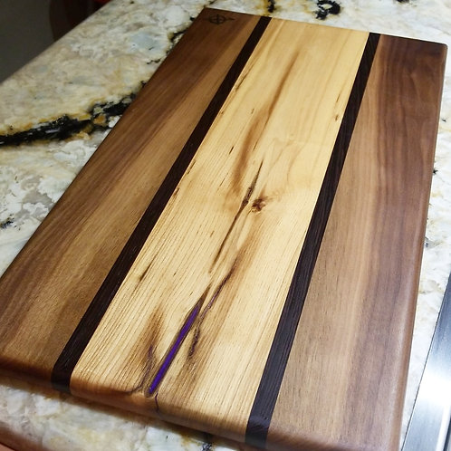 Walnut,  Wenge and ash with metallic purple fill.