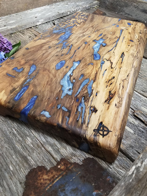 One of a Kind Spalted Partial Live Edge Sweet Gum with Metallic Blue Fills