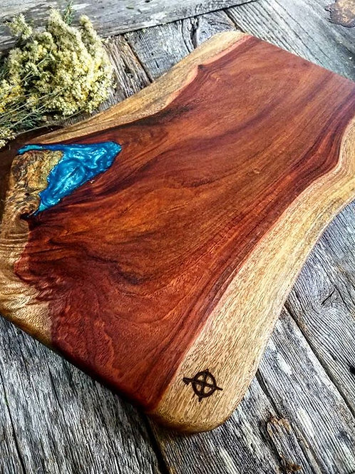 Live Edge Granadillo with Blue Metallic Fills