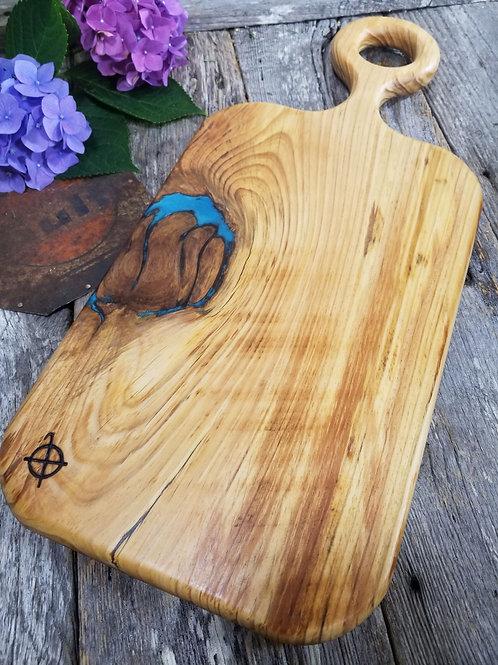 Vintage Heart Pine with Metallic Blue Fills