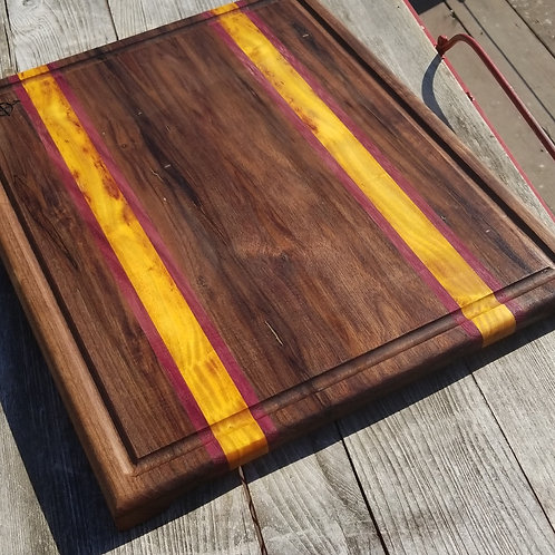 Walnut,  Canary Wood and Purpleheart