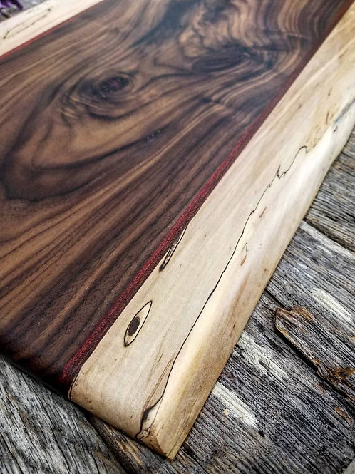 Spalted Maple (Partial Live Edge), Bloodwood,& Walnut