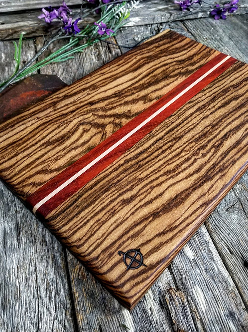 Zebra wood,  padauk and maple