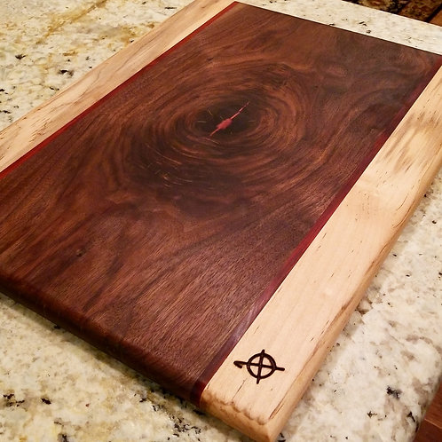 Maple,  redheart and walnut w/ deep metallic red