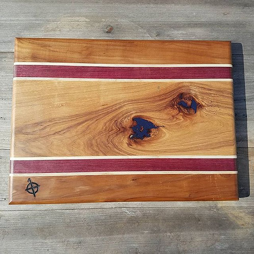 Apple, Maple, Purpleheart, and Hickory with Dark Purple Epoxy Fills