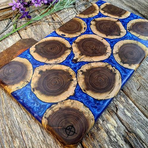 Walnut Rounds with Metallic Deep Blue Fill