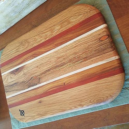 White Oak with Orange Tinted Epoxy Fills, Redheart, Ipe & Maple