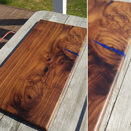 Walnut with Deep, Metallic Blue Fills
