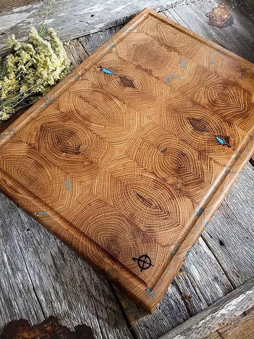 Vintage White Oak with Turquoise Epoxy Fills