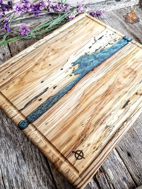Spalted Hickory with Finger Holds & Juice Groove