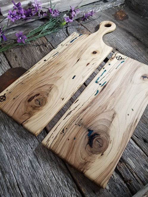 Bookmatched Spalted Hickory Cheese & Bread Board Set