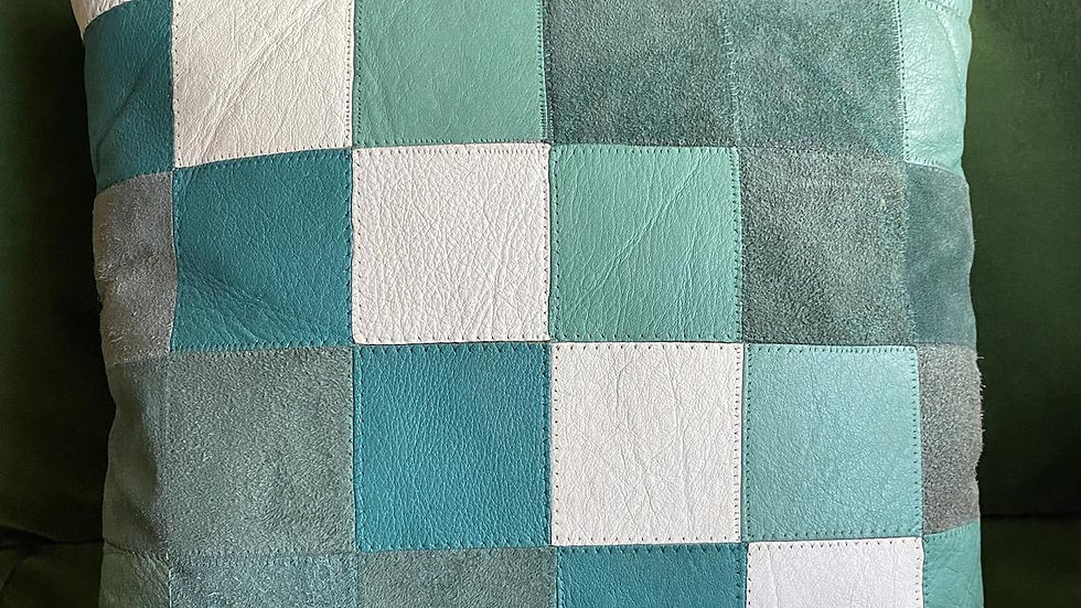 Retro/Vintage Leather and Suede Patchwork Cushion Cover (Greens)