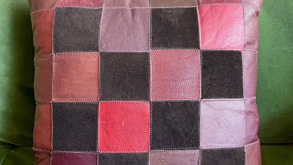 Retro/Vintage Leather and Suede Patchwork Cushion Cover (Purples)