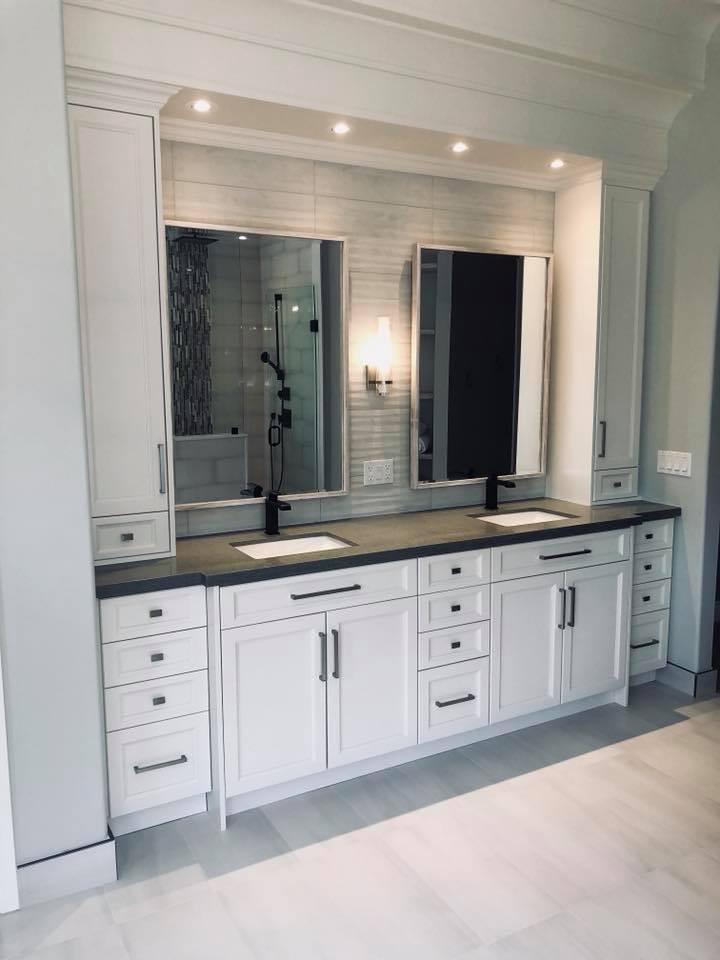 Custom solid wood vanity