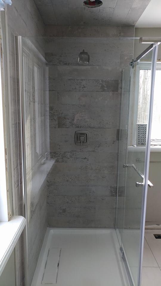 semi framless glass shower