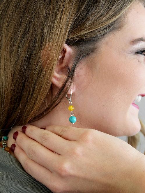 Yellow & Turquoise Earrings
