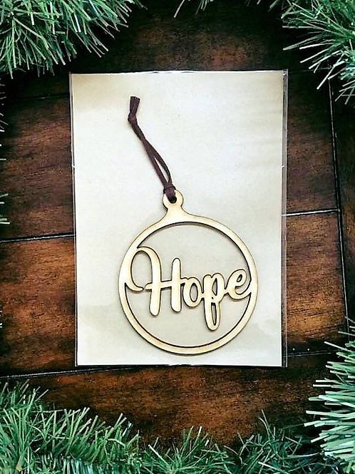 Hope, Joy & Peace Wood Carved Ornaments