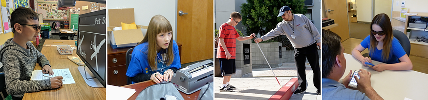 Four photos of students, in front of a CCTV, with a brailler, orientation and mobility training, assistive technology training