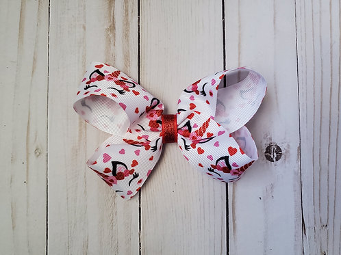 Valentine Unicorn Twisted Boutique Hair Bow