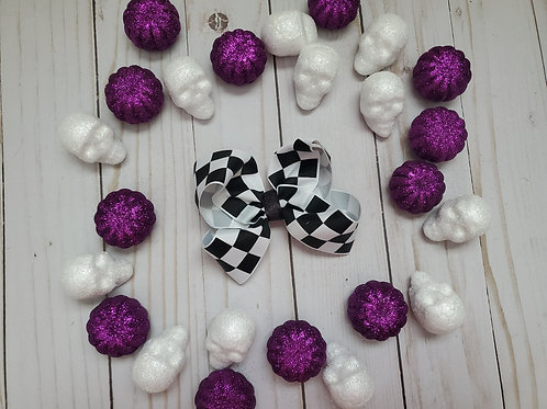 Black & White Checkered Twisted Boutique Hair Bow