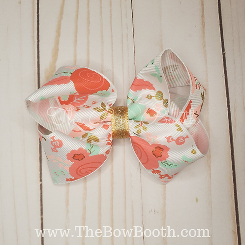 Spring Floral Twisted Boutque Hair Bow