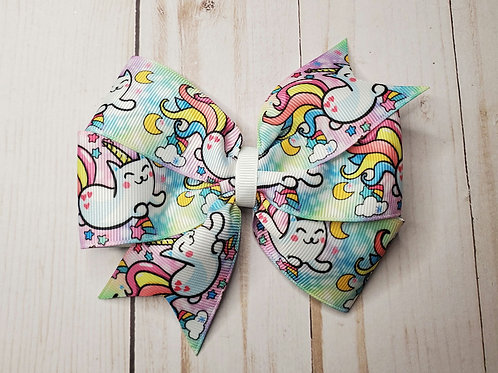 Unicorn Kitty Double Pinwheel Hair Bow