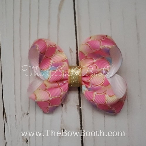 Small Mermaid Scale Twisted Boutique Hair Bow