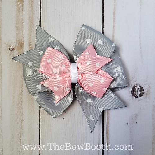 Pink & Gray Stacked Pinwheel Hair Bow