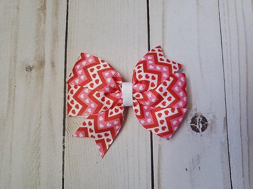 Small Zig Zag Hearts Pinwheel Hair Bow