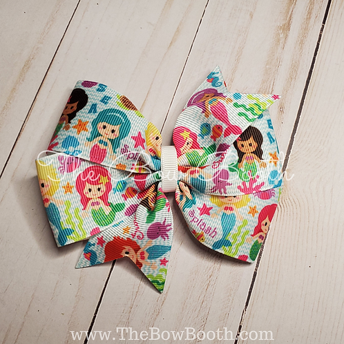 Mermaid Pinwheel Hair Bow