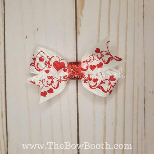 Red & White Hearts Pinwheel Hair Bow