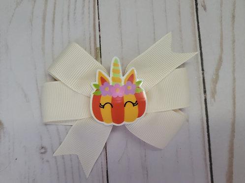 Pumpkin Unicorn Embellished Pinwheel Bow