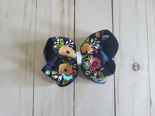 Navy Floral Twisted Boutque Hair Bow