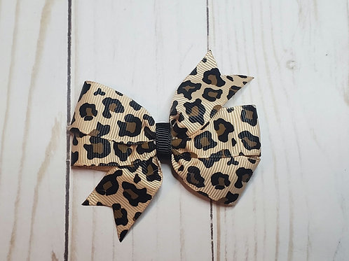 Leopard Print Pinwheel Hair Bow
