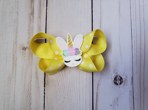 Easter Unicorn Twisted Boutique Hair Bow