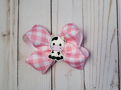 Cute Cow Twisted Boutique Hair Bow