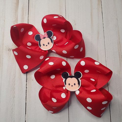 Mickey & Minnie Polka Dot Twisted Boutque Hair Bow