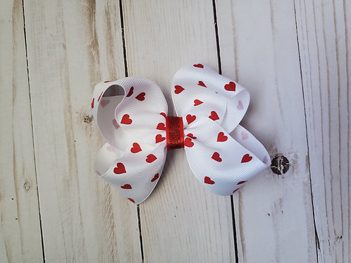 White Hearts Twisted Boutique Hair Bow