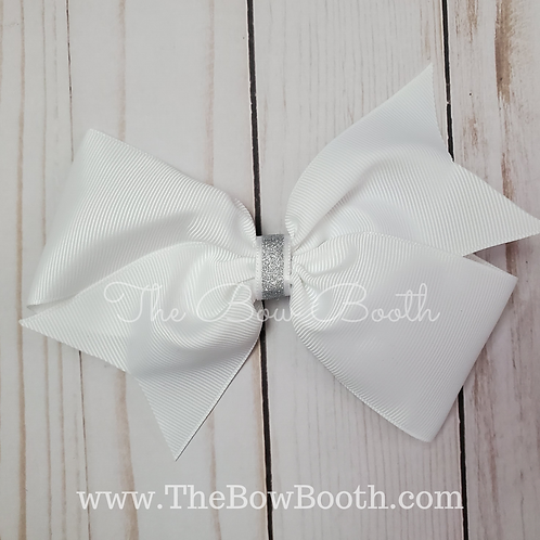 Xl Solid White Sparkle Pinwheel Bow