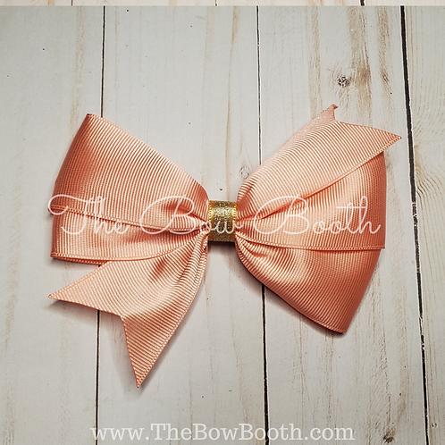 Coral & Gold Single Pinwheel Hair Bow