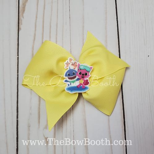 Xl Yellow Pink Fong Pinwheel Bow