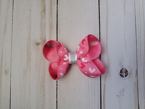 Pink Valentine Hearts Twisted Boutique Hair Bow