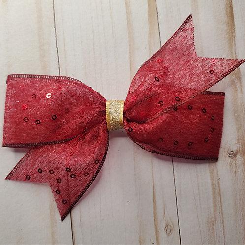 Sheer Organza+Sequin Single Pinwheel Hair Bow