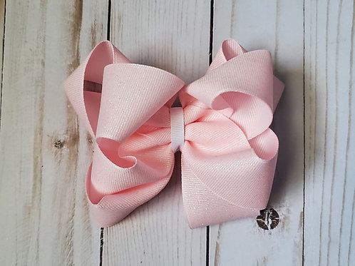 Pink Glitter Stacked Twisted Boutique Hair Bow