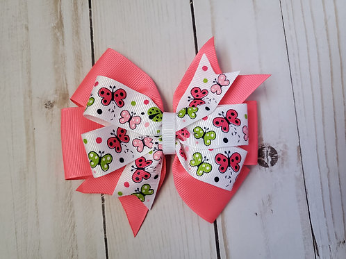 Spring Butterfly & Lady Bug Stacked Pinwheel Hair Bow